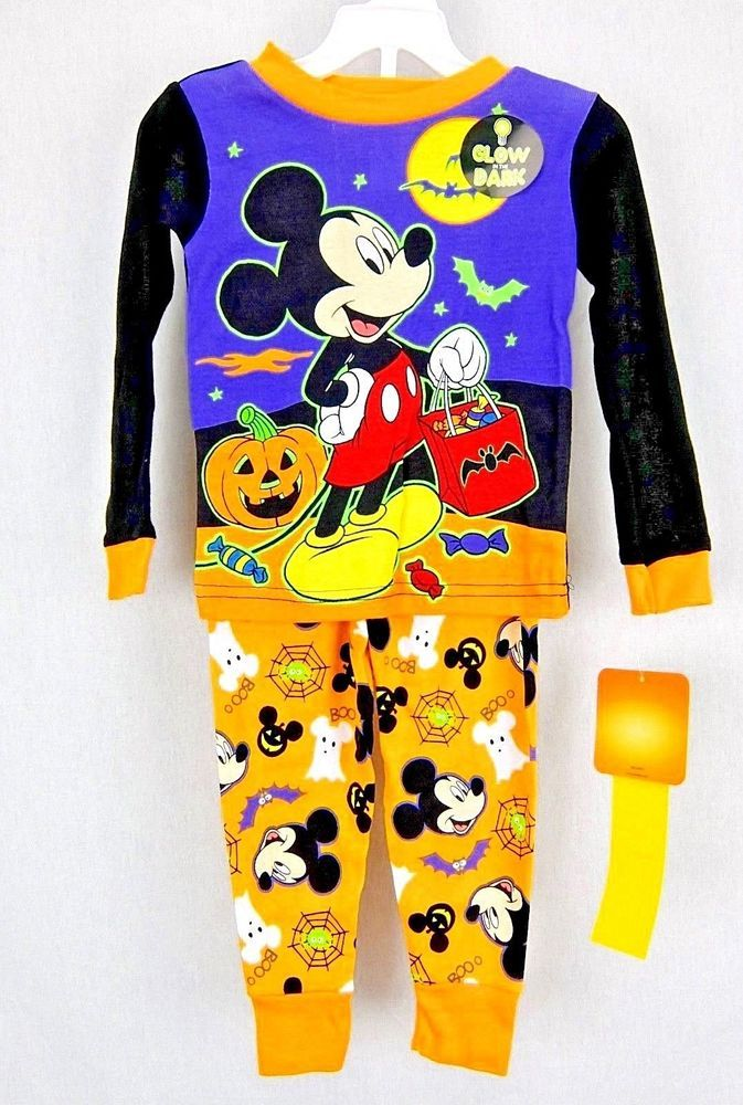 disney mickey mouse boys glow in th dark halloween pajamas 2 piece size 2t 4t disney twopiece