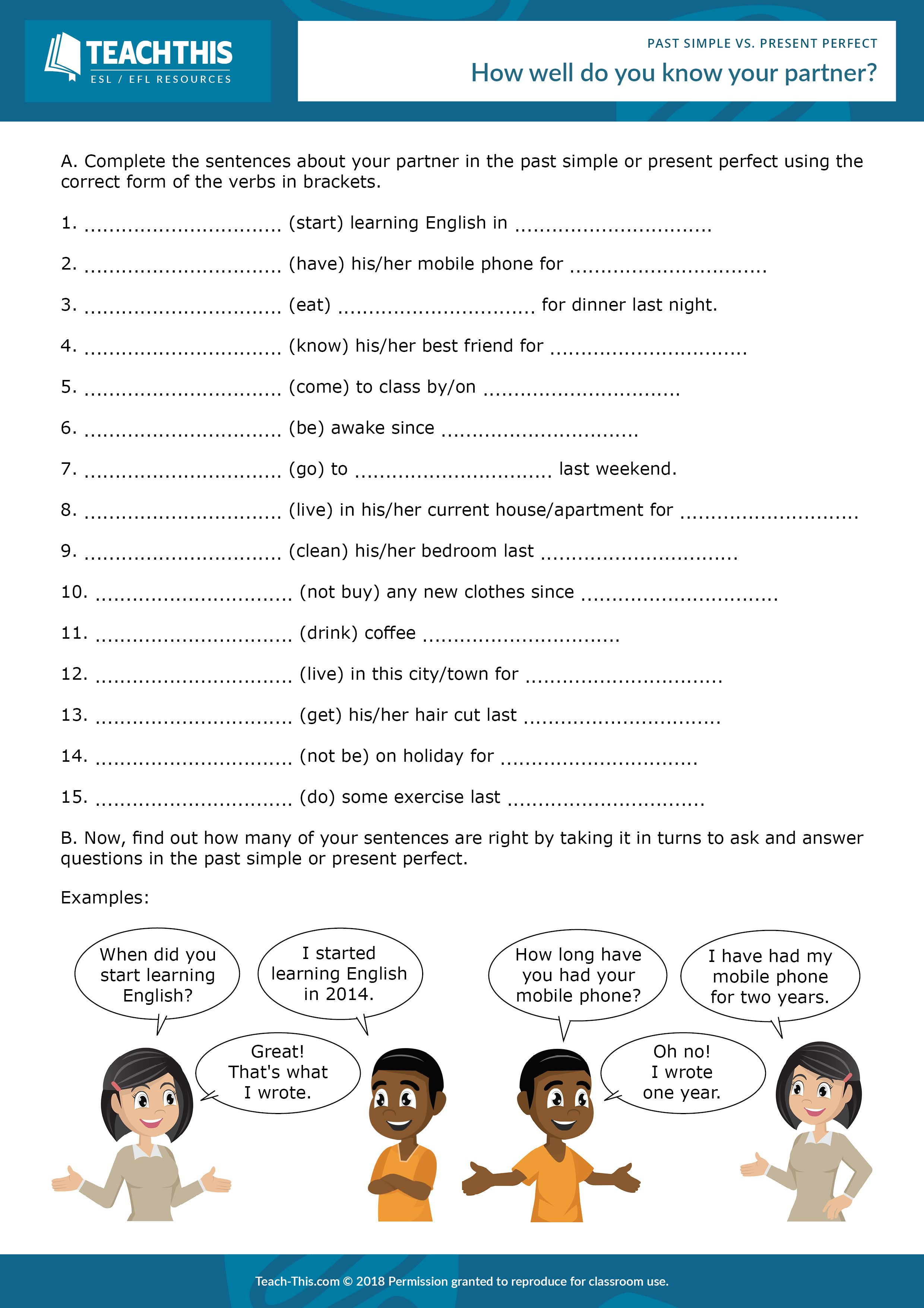 Present Perfect Vs Past Simple Present Perfect Grammar Activities Worksheets Learn English