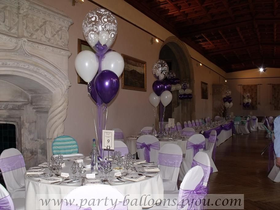 Balloon table decorations wedding at ashton