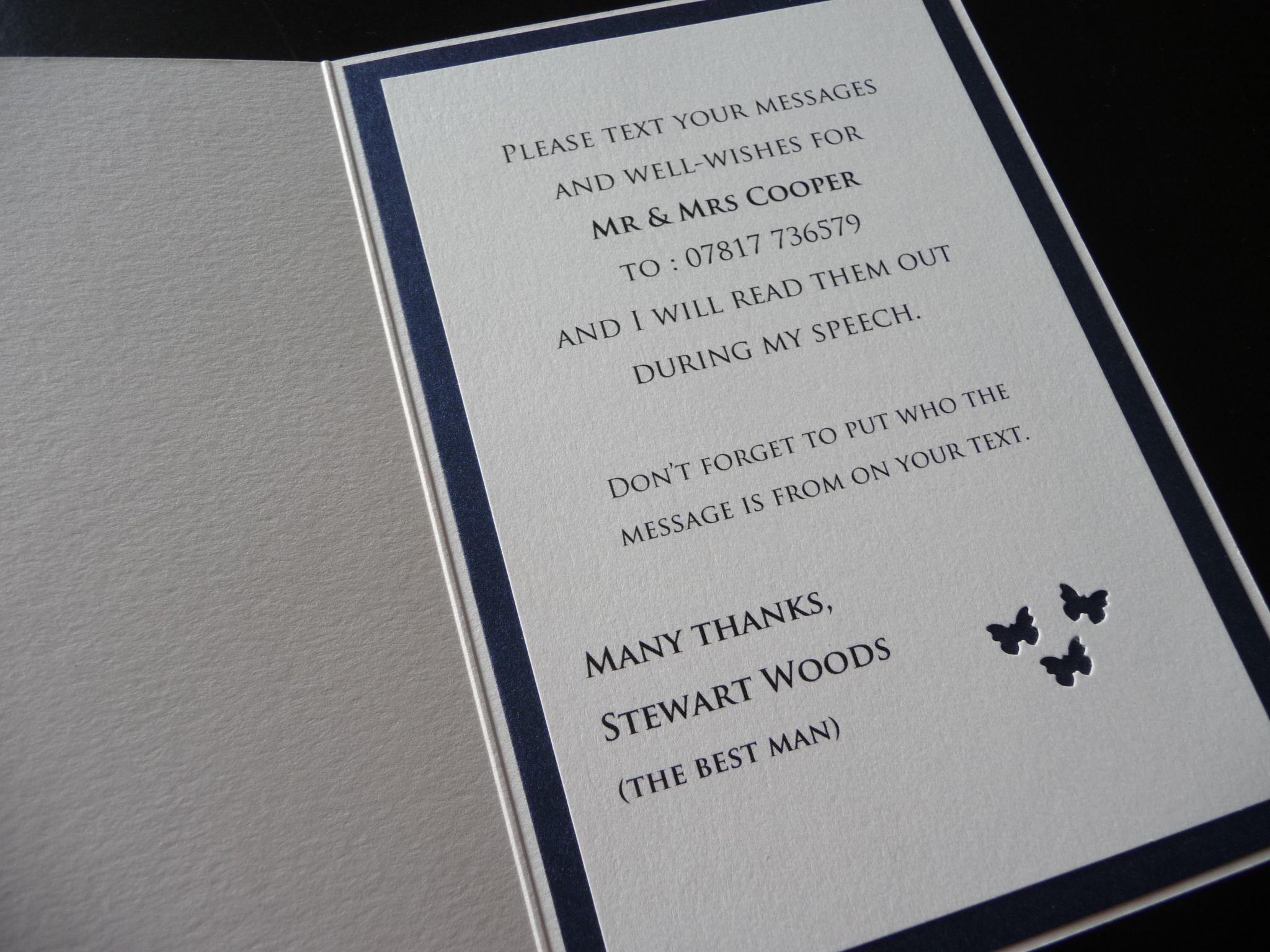 A Message from the Best Man Card