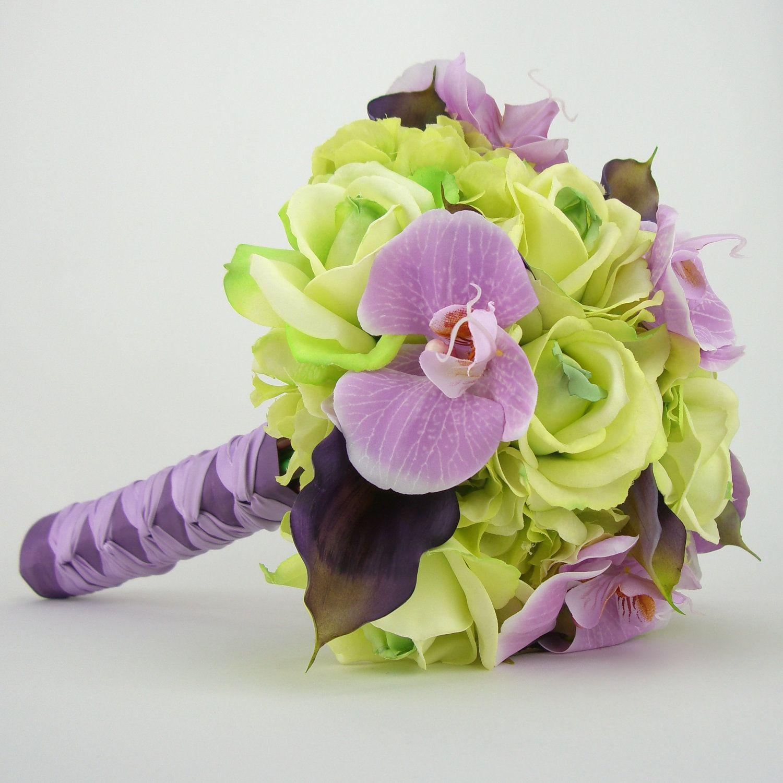 Purple bridal bouquet orchids calla lilies wedding ideas purple bridal bouquet orchids calla lilies silk wedding flowerswedding izmirmasajfo Choice Image