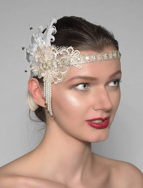 2e795491576ef Lace + Feathers Flapper Crystal Headband