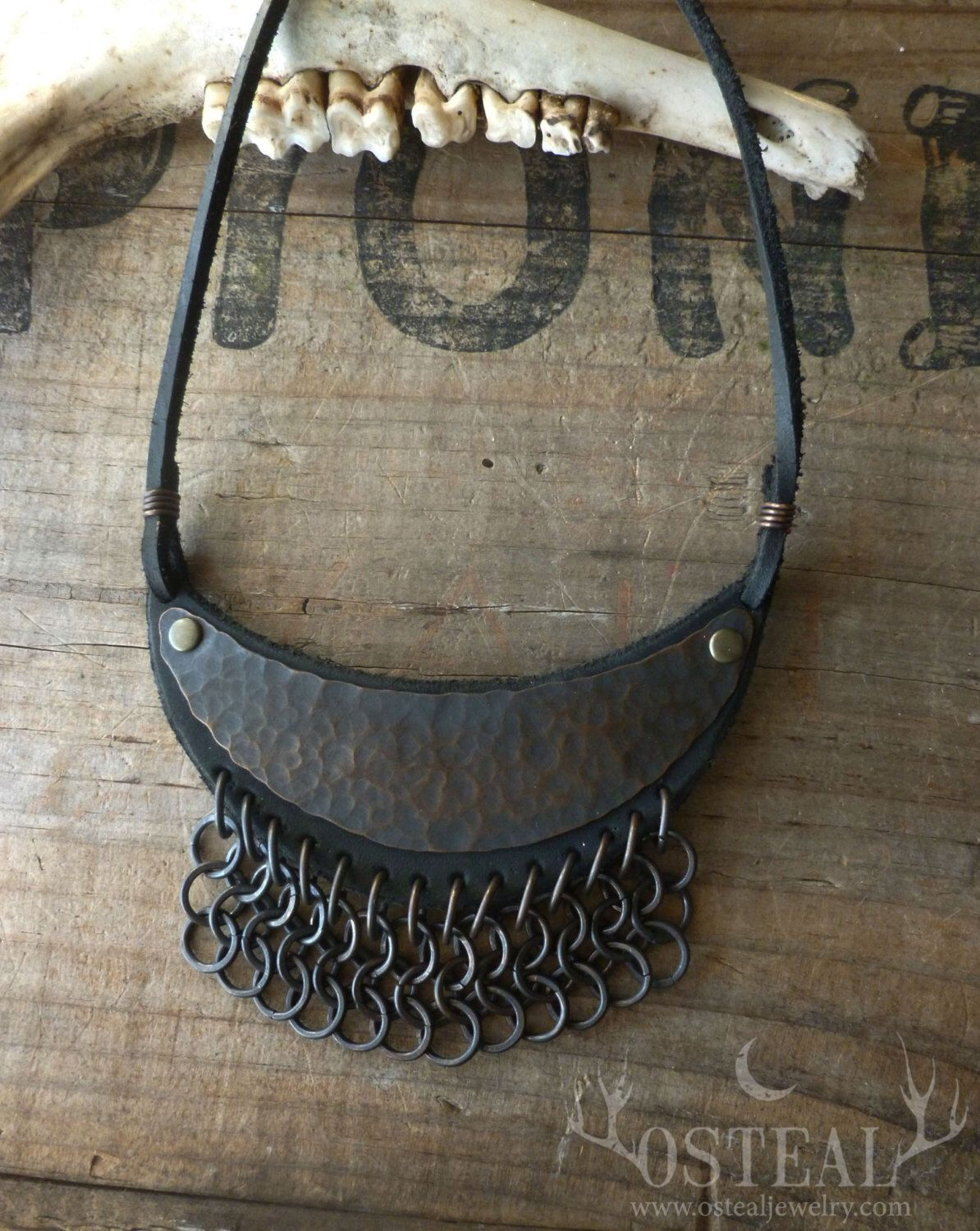 Harvest Moon  - necklace, leather, copper chainmaille by Osteal on Etsy https://www.etsy.com/listing/215425348/harvest-moon-necklace-leather-copper