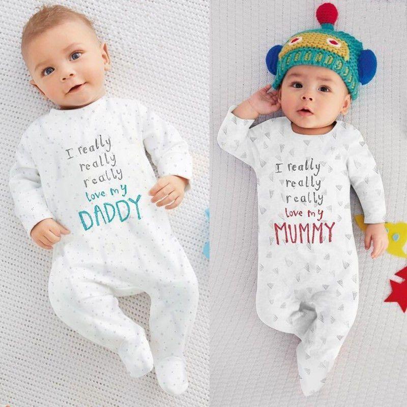 2b4d320c095c Newborn Twin Baby Brother Sister Boys Girl Love Mom Dad Sleep Suit ...