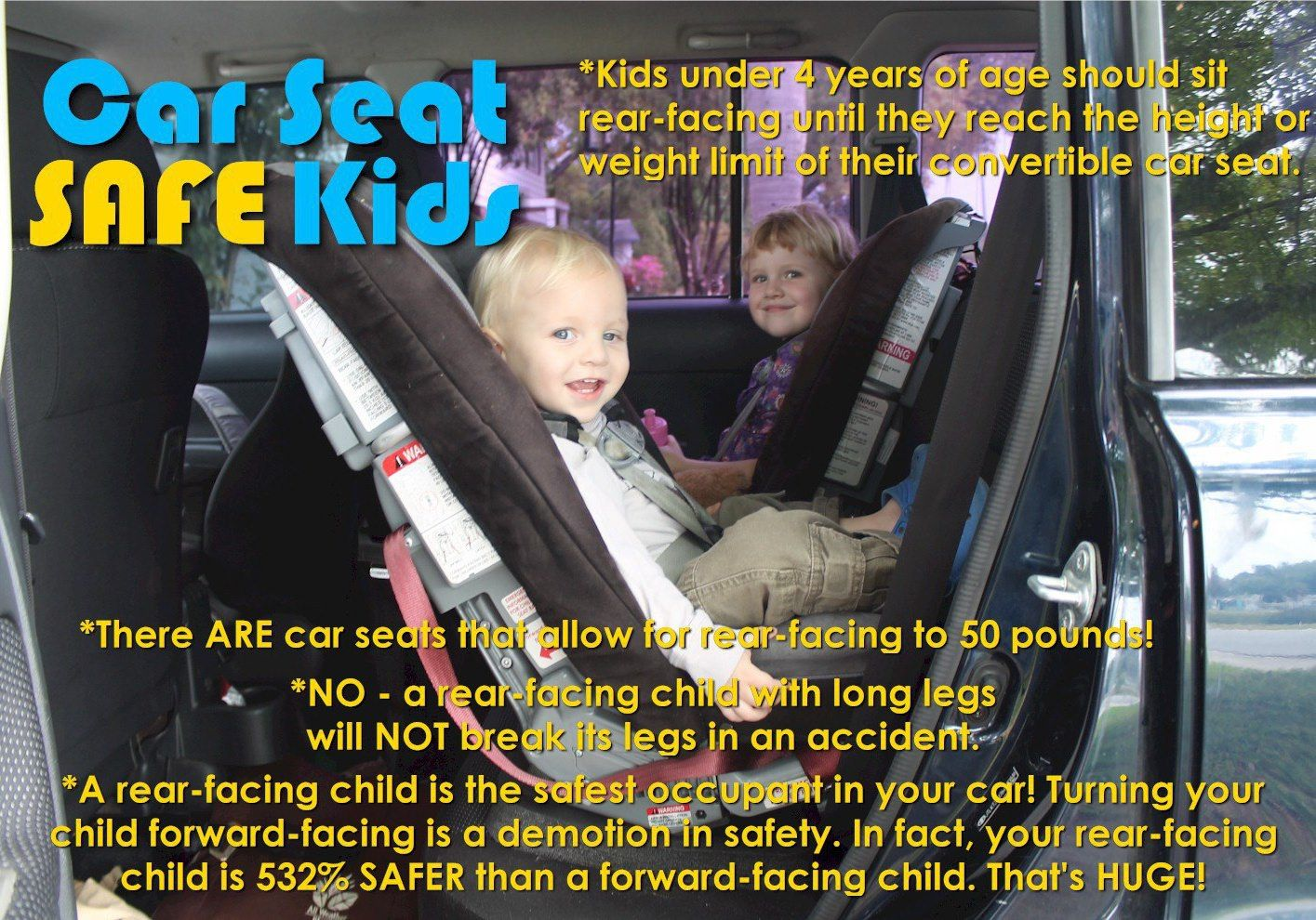 Kids under 4 years of age should sit rear facing until they max out ...