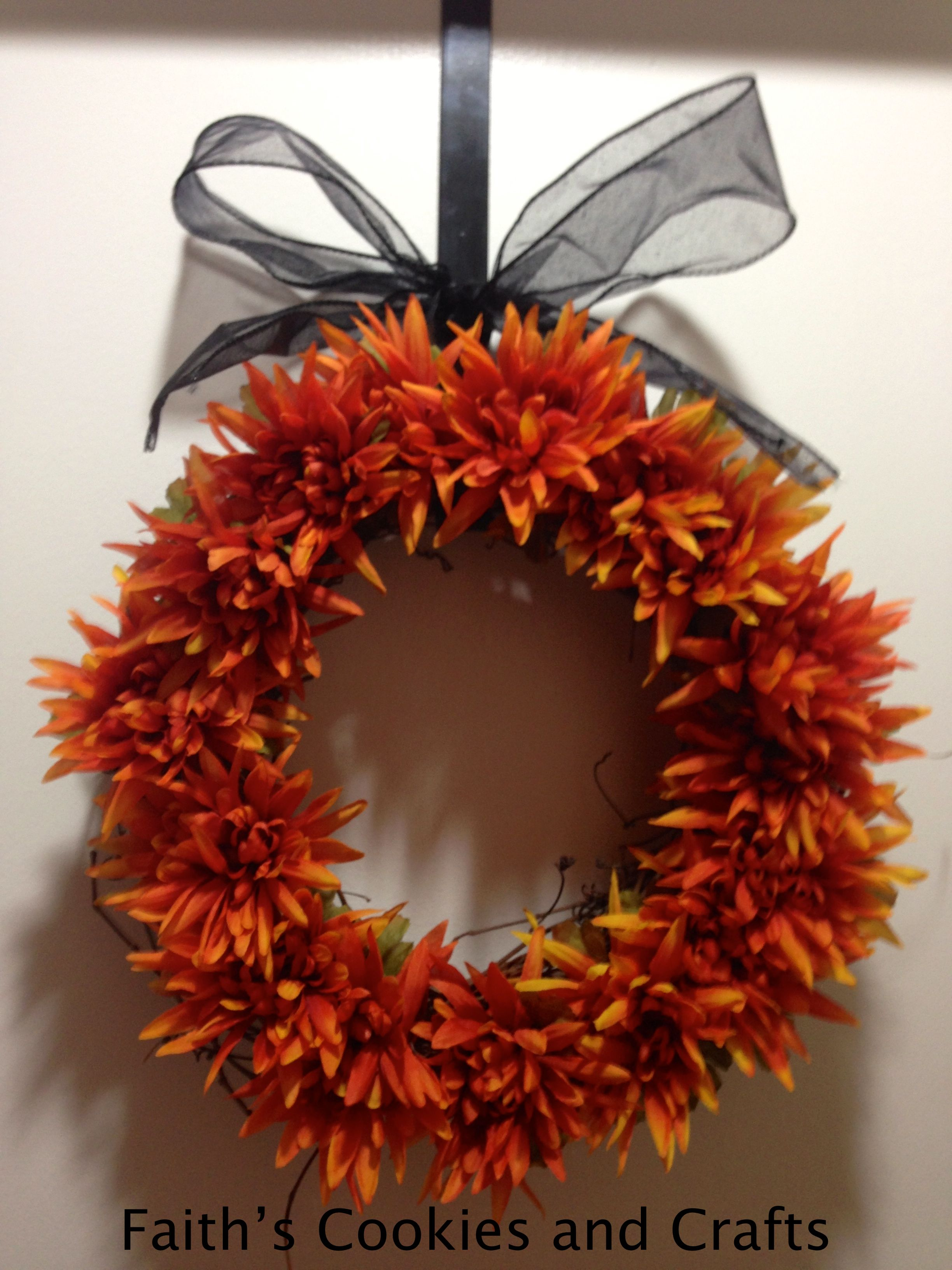 Another front door wreath, black ribbon for Halloween and then ...