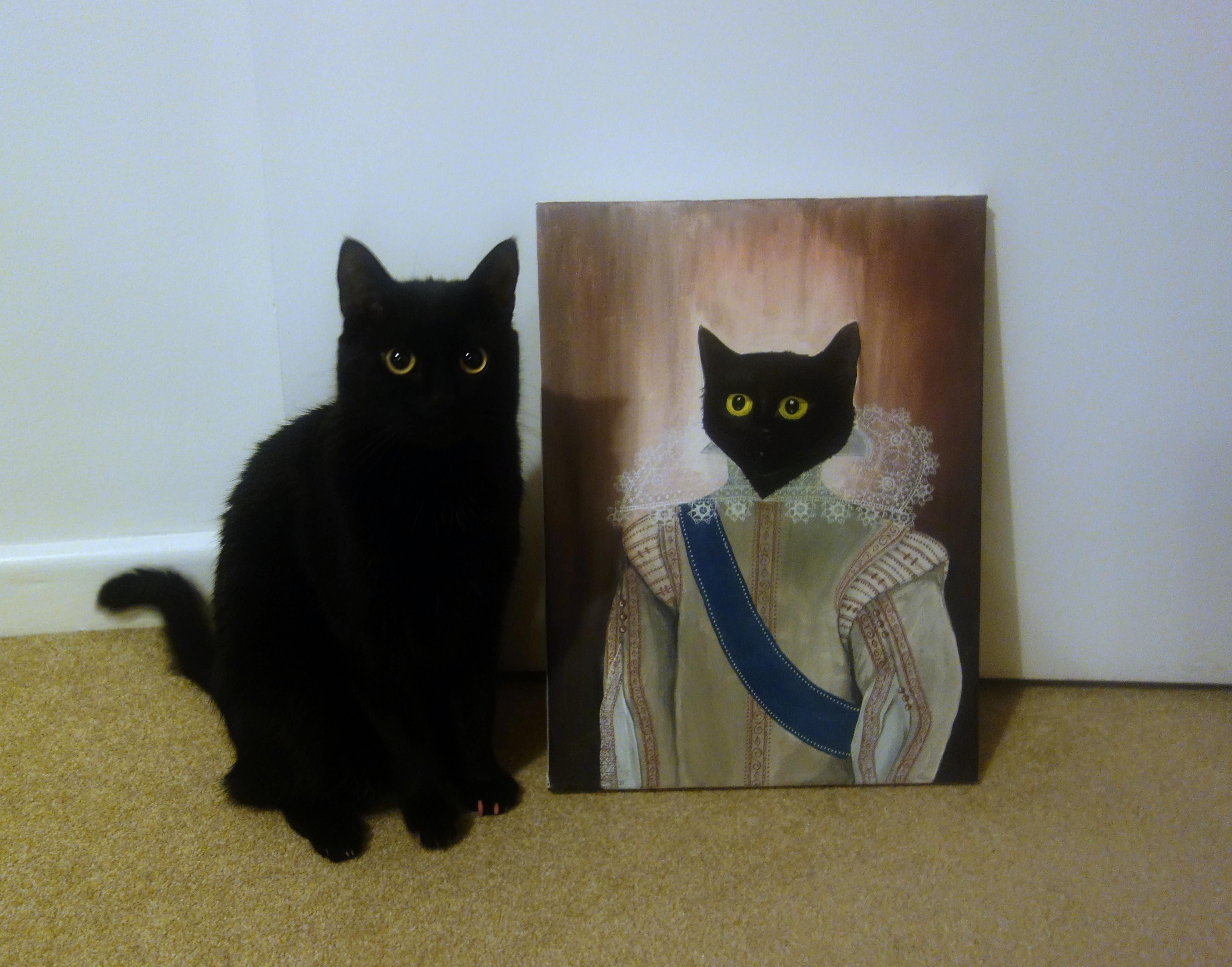 I made a painting of my cat (x-post from /r/blackcats)