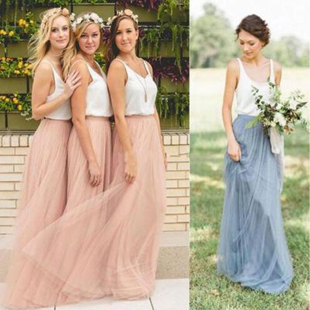 Popular cheap low back spaghetti straps scoop neck bridesmaid popular cheap low back spaghetti straps scoop neck bridesmaid dresses white blush pink tulle long bridesmaid dresses ombrellifo Images