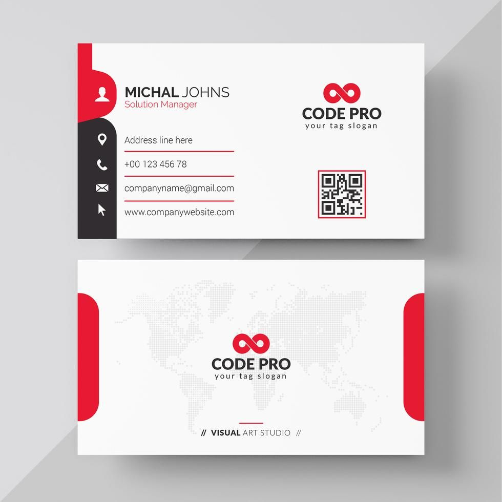 Red Shape Visit Card Visiting Card Design Visiting Card Creative Business Cards Creative