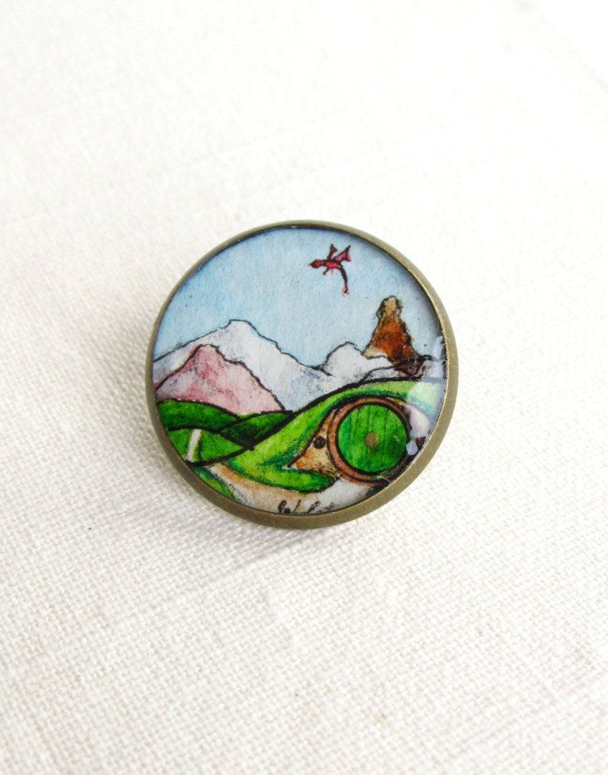The hobbit pin button brooch lord of the rings jewelry hobbit art