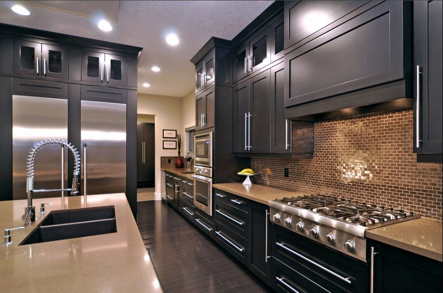 black and stainless kitchen  images about dark cabinets with white counters and backsplash on pinterest