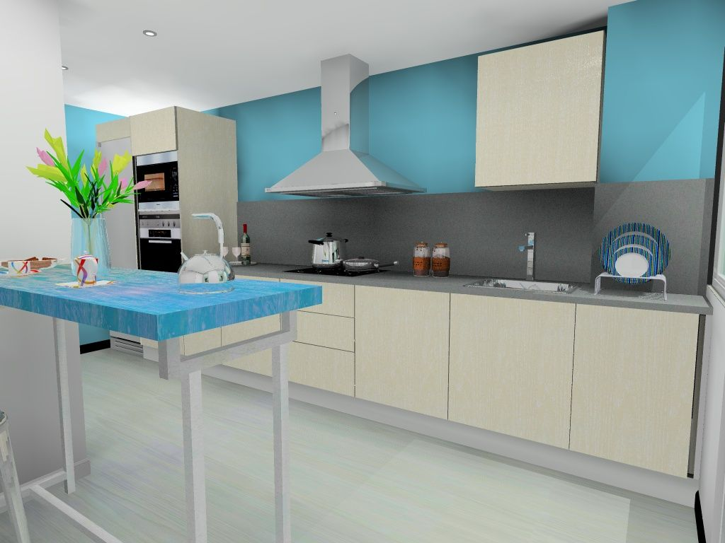 Ideas de #Cocina, estilo #Contemporaneo color #Turquesa, #Beige ...