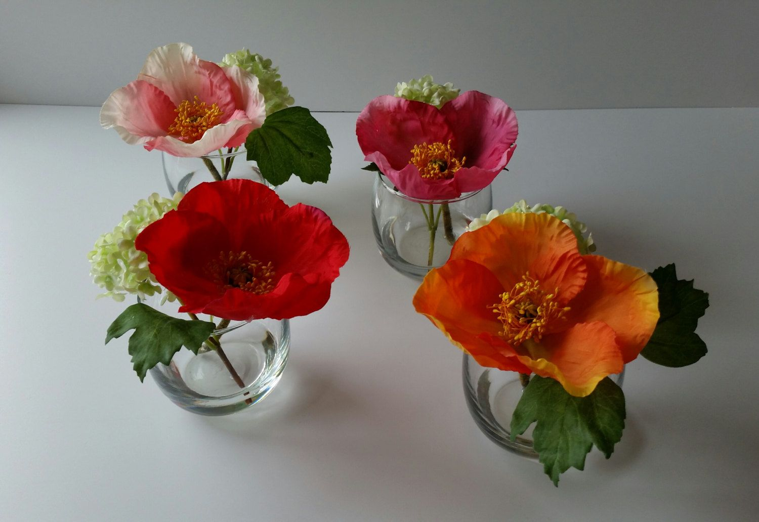 Faux Silk Poppy Flower Arrangement Clear Glass Vase Faux Water