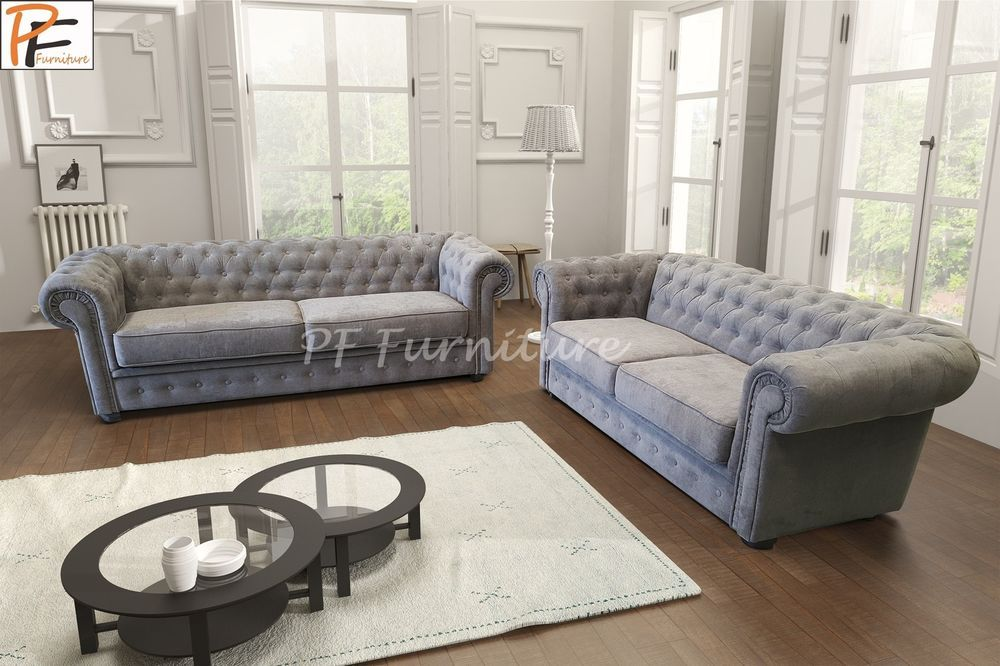 Chesterfield Sofa Set Imperial Fabric 3 2 Seater Suite Grey Cream Silver Teal Ebay Sofa Set Living Room Decor Cozy Corner Sofa Set