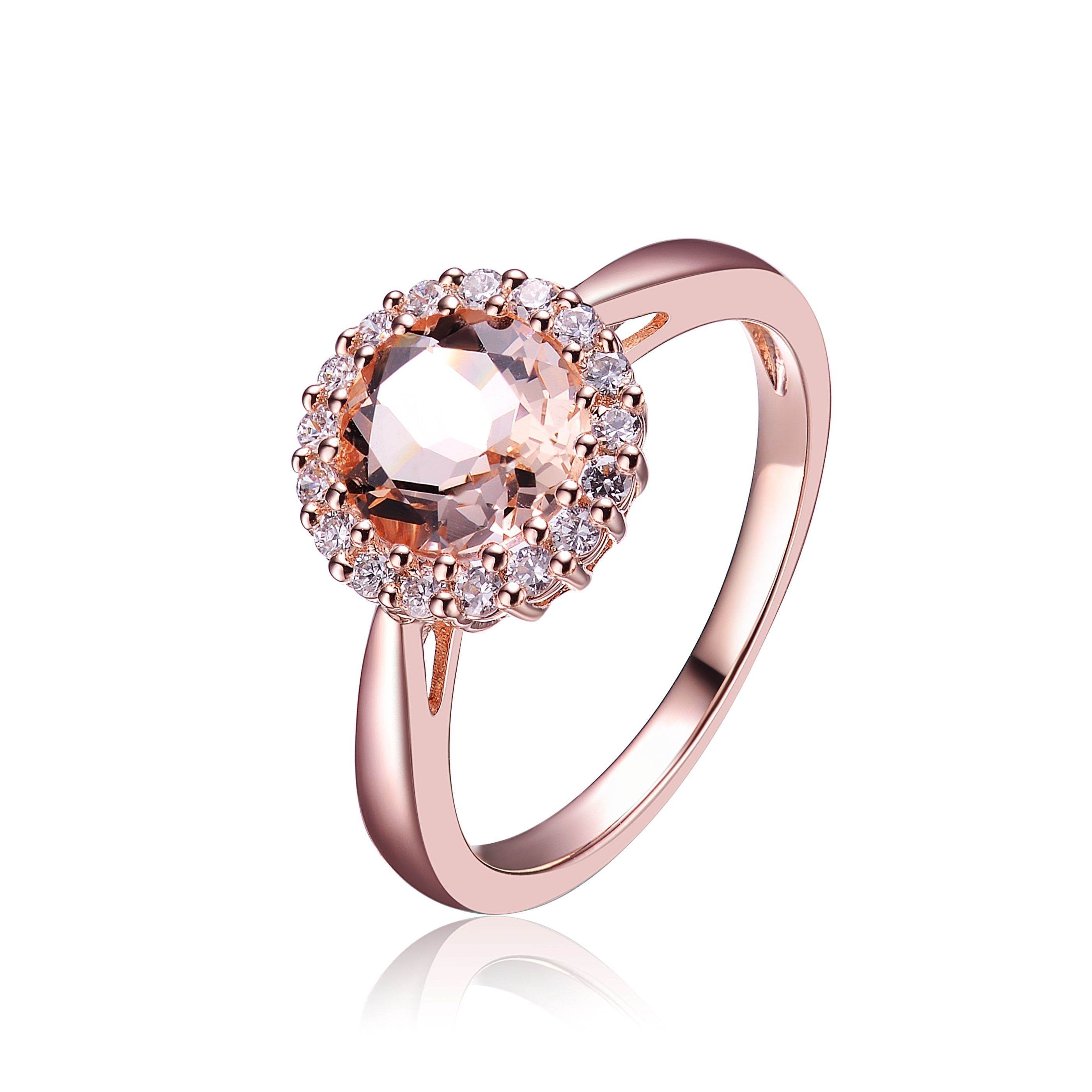 pin collette rings engagement plating sterling zirconia cubic rose amber white clear z silver ring