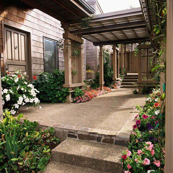 patio gartengestaltung ideen pergola selber bauen angebaut Yard
