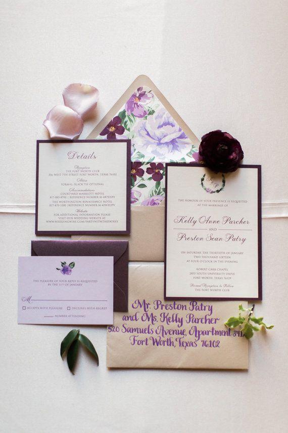 how to return address wedding envelopes%0A  x  Purple Lavender Lilac Floral Wedding Invitation Suite with Details  Insert  RSVP  u     Envelope Liner