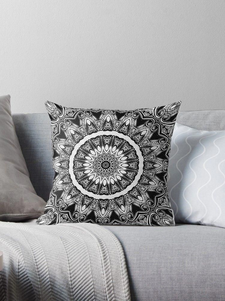 Black and white mandala design. White. Peace, harmony, kindness, delicacy and shyness. Seventh chakra. Black. Depth, mystery, authority, dignity, security.  #throwpillow #pillow #blackandwhitepillow #mandalapillow #homedecor #roomdecor #decor #blackandwhitedecoration #blackandwhitemandala #blackandwhite #mandaladecor #bohochic #blackandwhitebedroom