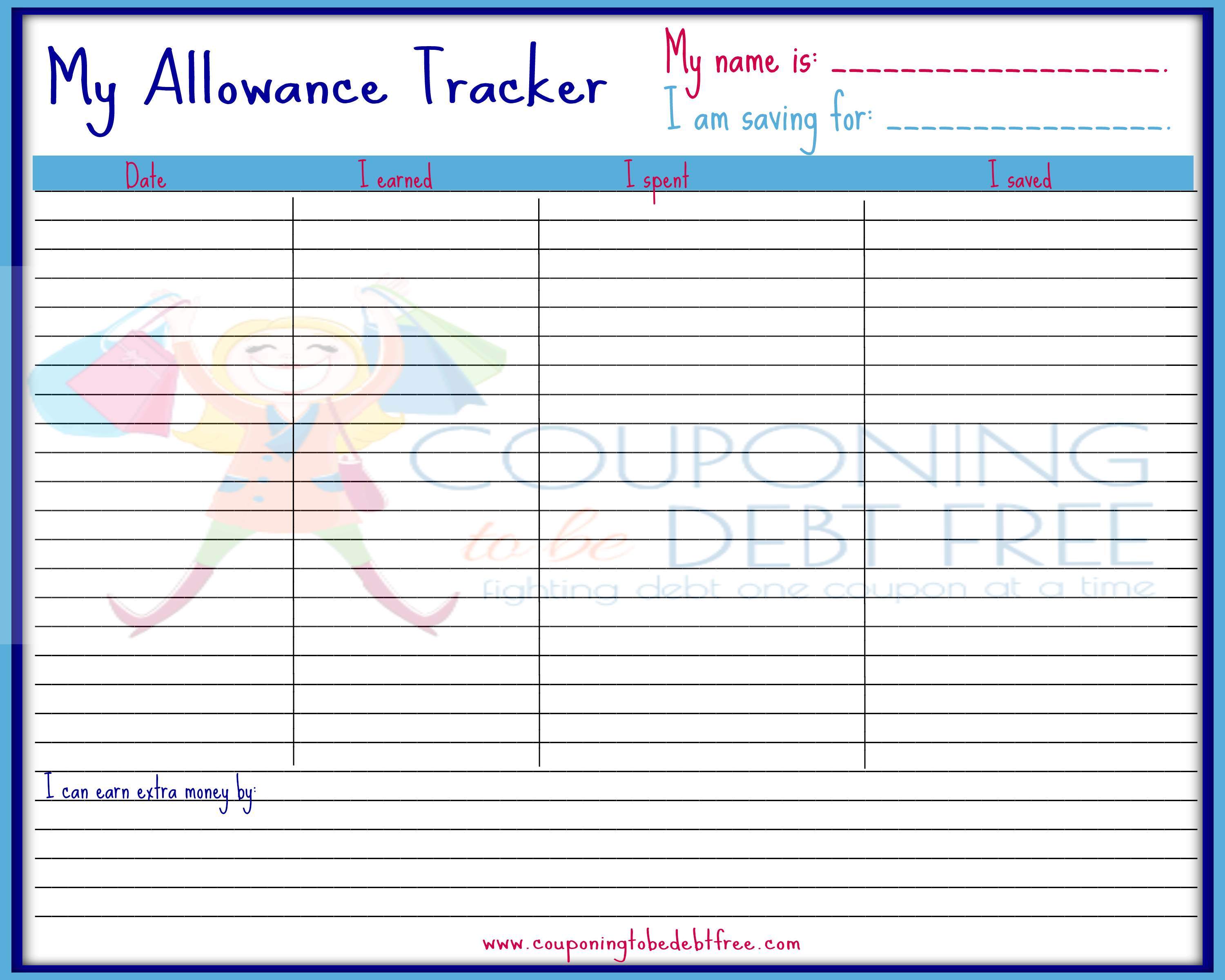 Free Weekly Allowance Tracker Printable Printable