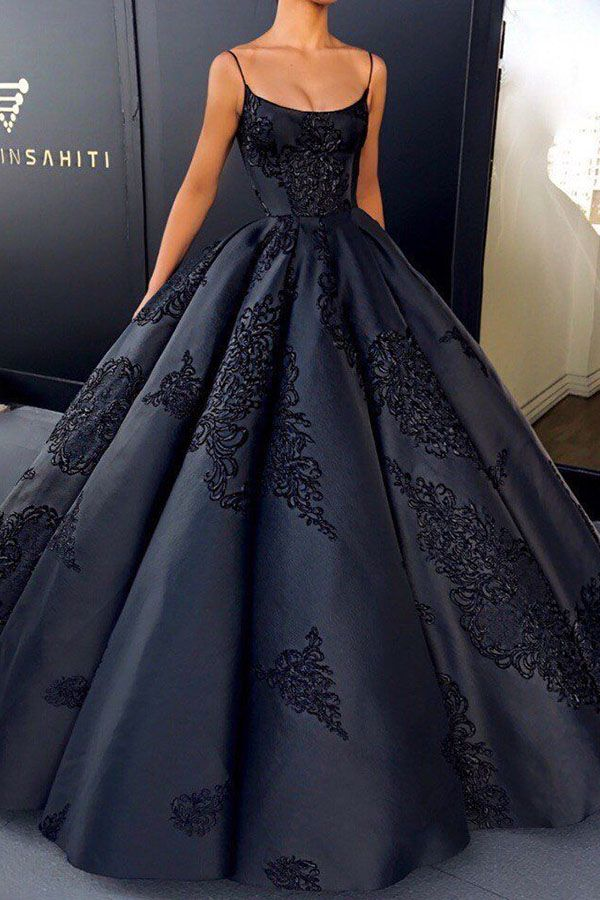 Black Ball Gown Spaghetti Straps Long Prom Dress Party Dress With Lace Appliques, SP598
