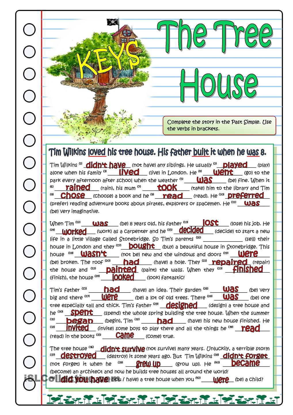 The Tree House Part 1 English Grammar Worksheets Teaching English Grammar Worksheets [ 1440 x 1018 Pixel ]
