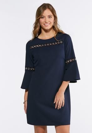 94473d70b54 Cato Fashions Plus Size Grommet Bell Sleeve Shift Dress  CatoFashions