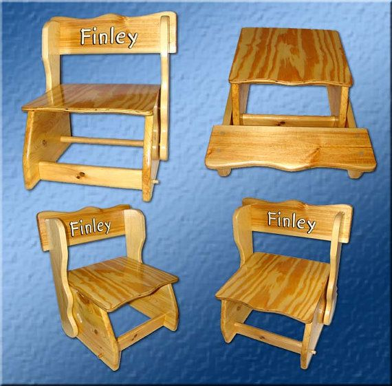 Folding Combination Child Chair U0026 Step Stool Acrylic Painting