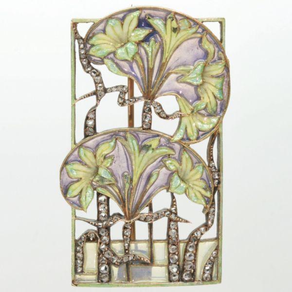 Brooch with plique a jour enamel by Rene Lalique