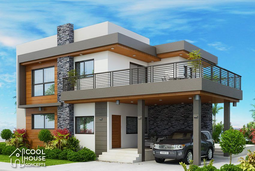 Four Bedrooms Two Storey Modern House Cool House Concepts Four Bedroom House Plans Modern House Plans Duplex House Design