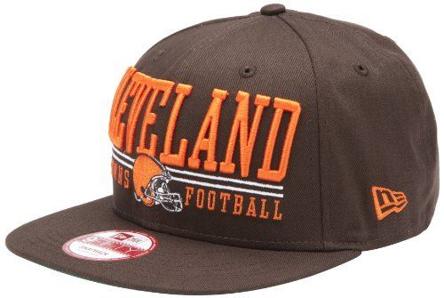 NFL Unisex Adult Cleveland Browns Lateral Snapback Cap (Brown, One Size Fits All) by New Era. $12.49. The Lateral Snap Is A New Era® 9Fifty™ Snapback Cap Featuring Retro NFL City And Team Logos. The Cap Has An Embroidered (Raised) City Name And Team Logo On The Front, And A Stitched New Era® Flag At Wearer's Left Side.. Save 54%!
