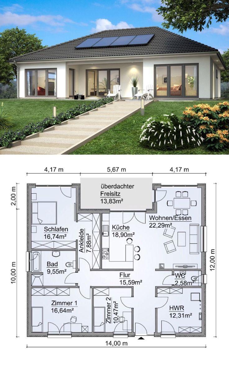 Moderner Walmdach Bungalow wei� mit  4 Zimmer Grundriss in Uform, ohne Keller - Einfamilienhaus ebenerdig bauen Ideen Fertighaus SH 146 B von ScanHaus Marlow - HausbauDirekt.de #buildingahouse
