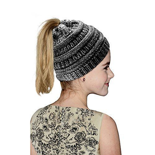 a4eb72f05d1 Hootech Winter Warm Knitted Ponytail Beanie Hat Messy High Bun (Blackwhite)   fashion