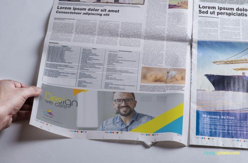 Photorealistic Newspaper Psd Mockups For Advertising  Zippypixels