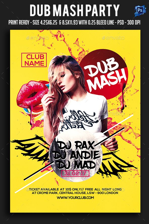 dub mash party flyer template psd flyer templates pinterest