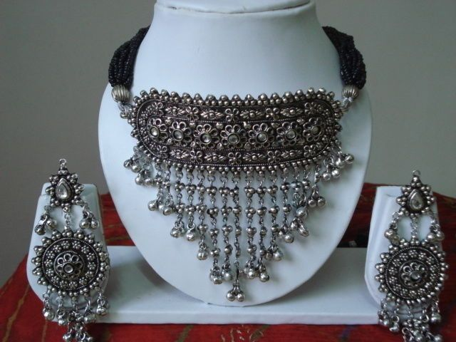 Attractive Unique Indian Rajasthani White Metal Oxidised