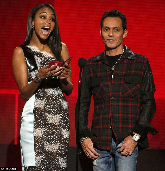 Happy about this one! Zoe Saldana presented awards at the awards alongside Marc Anthony