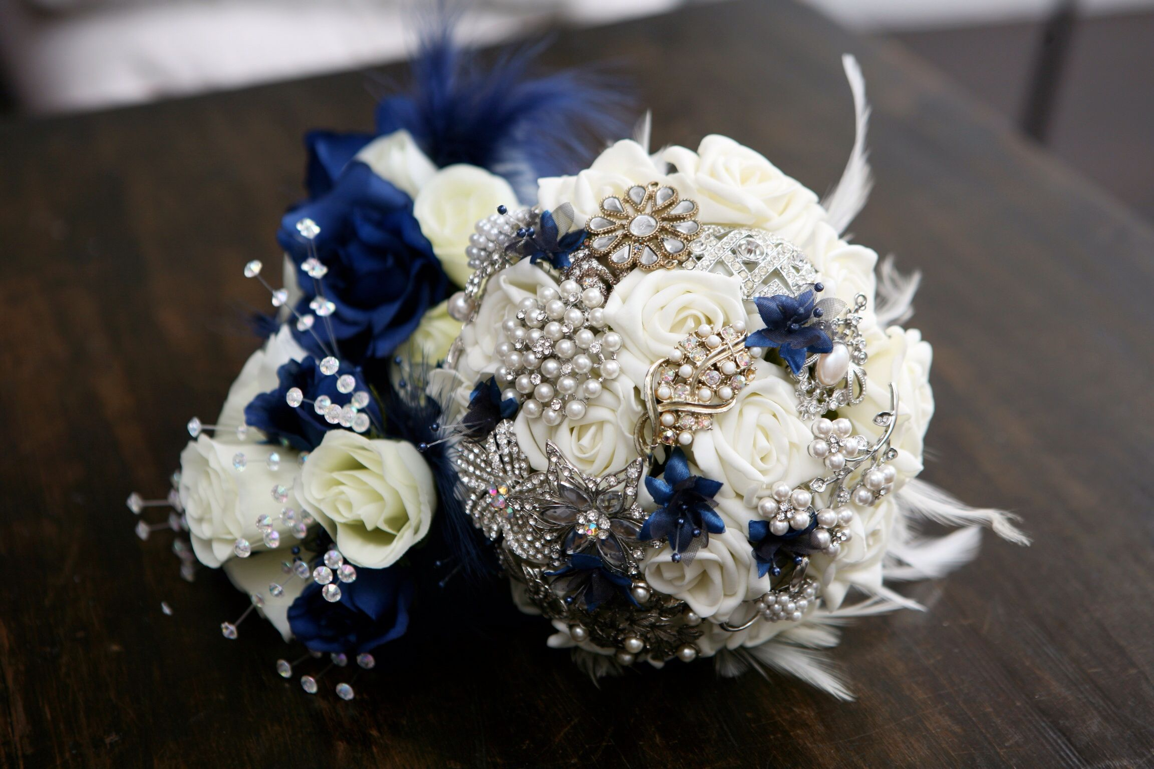 My Wedding Bouquet, brooches, satin flowers and feathers
