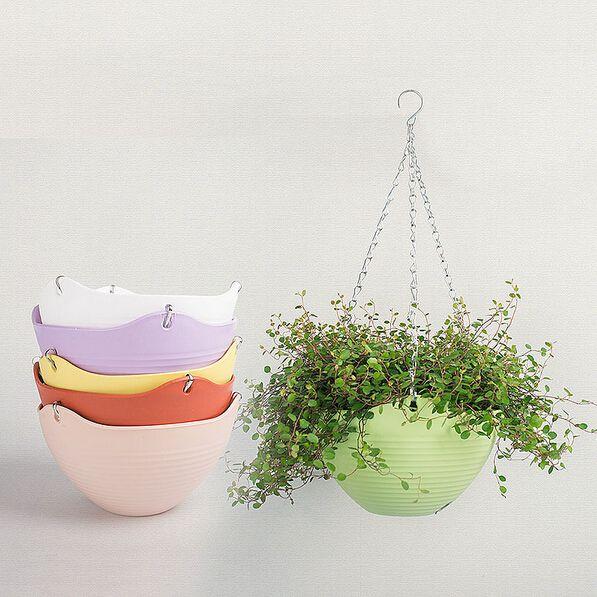 2pcs 9 Colors 20 13cm Plain Color Round Plastic Hanging Planter Flower Pot With Metal Chain Fo Plastic Hanging Baskets Plastic Hanging Planters Garden Supplies