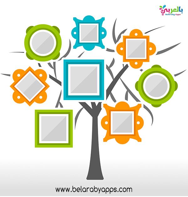 نماذج شجرة العائلة للاطفال بالصور عائلتي أسرتي بالعربي نتعلم In 2021 Frame Flat Tree Free Photo Frames