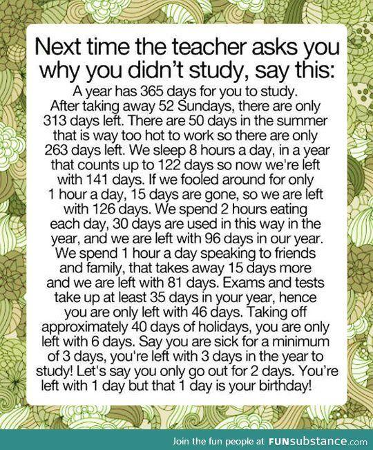 No time to study - FunSubstance