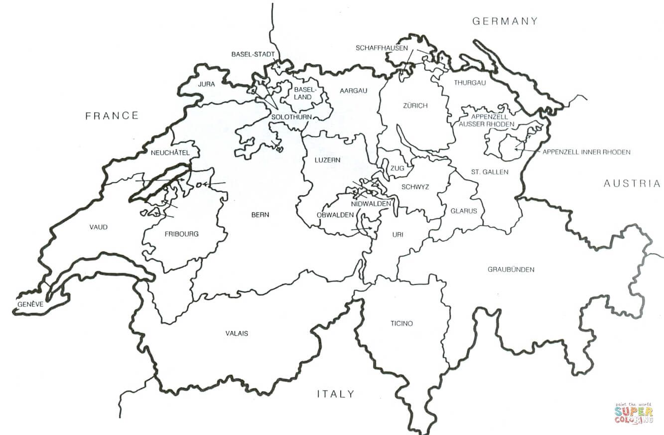 Swiss Outline Flag Coloring Pages World Map Coloring Page