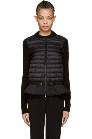 Moncler - Black Down & Knit Peplum Jacket