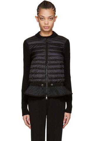 moncler black down knit peplum jacket