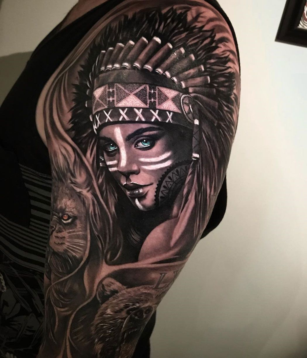 Indian Girl Portrait Headdress tattoo, Indian headdress
