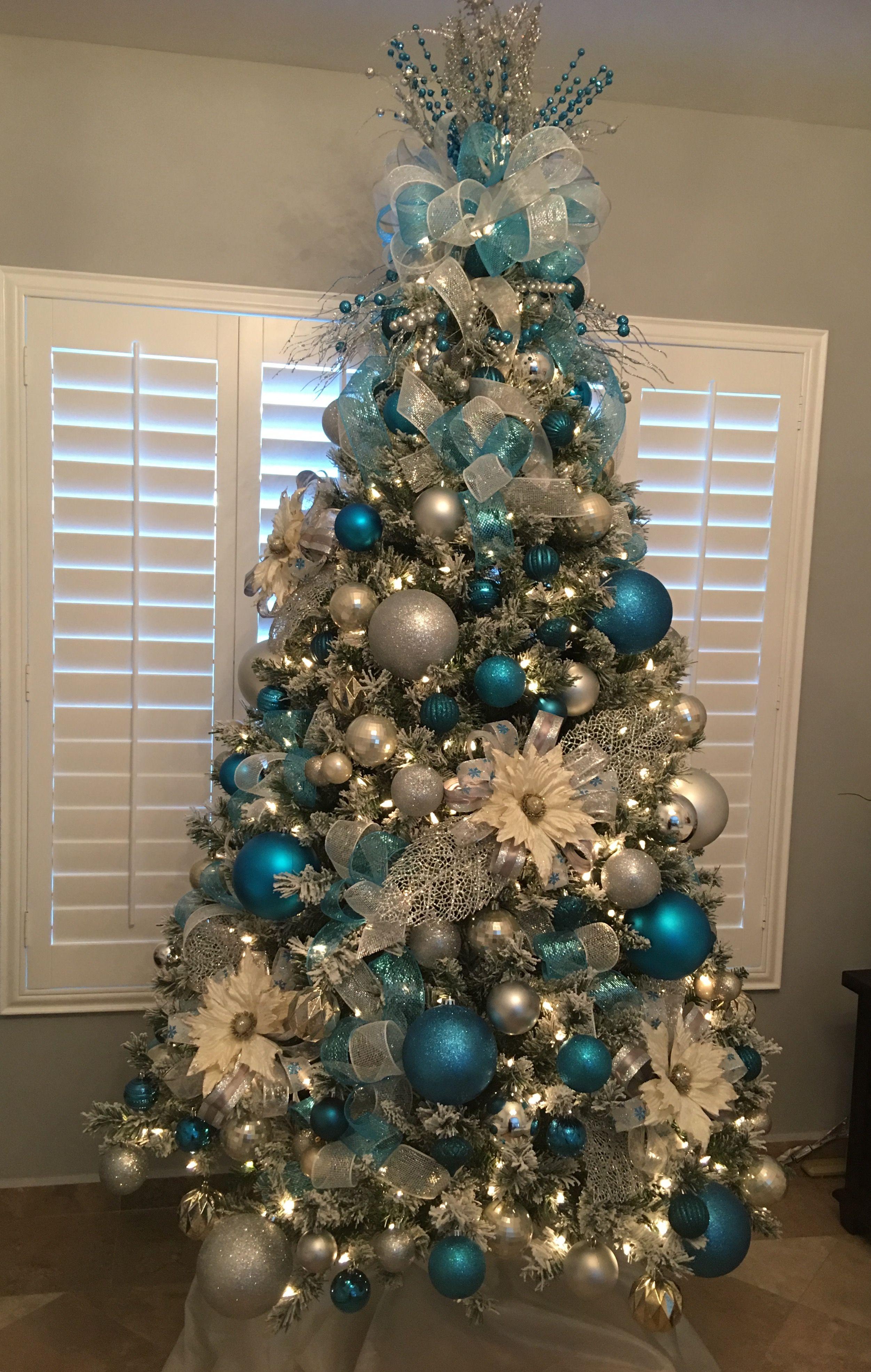 Pin By Gerilee Alvarez On Christmas My Way Elegant Christmas Trees Blue Christmas Tree Decorations Christmas Tree Decorations