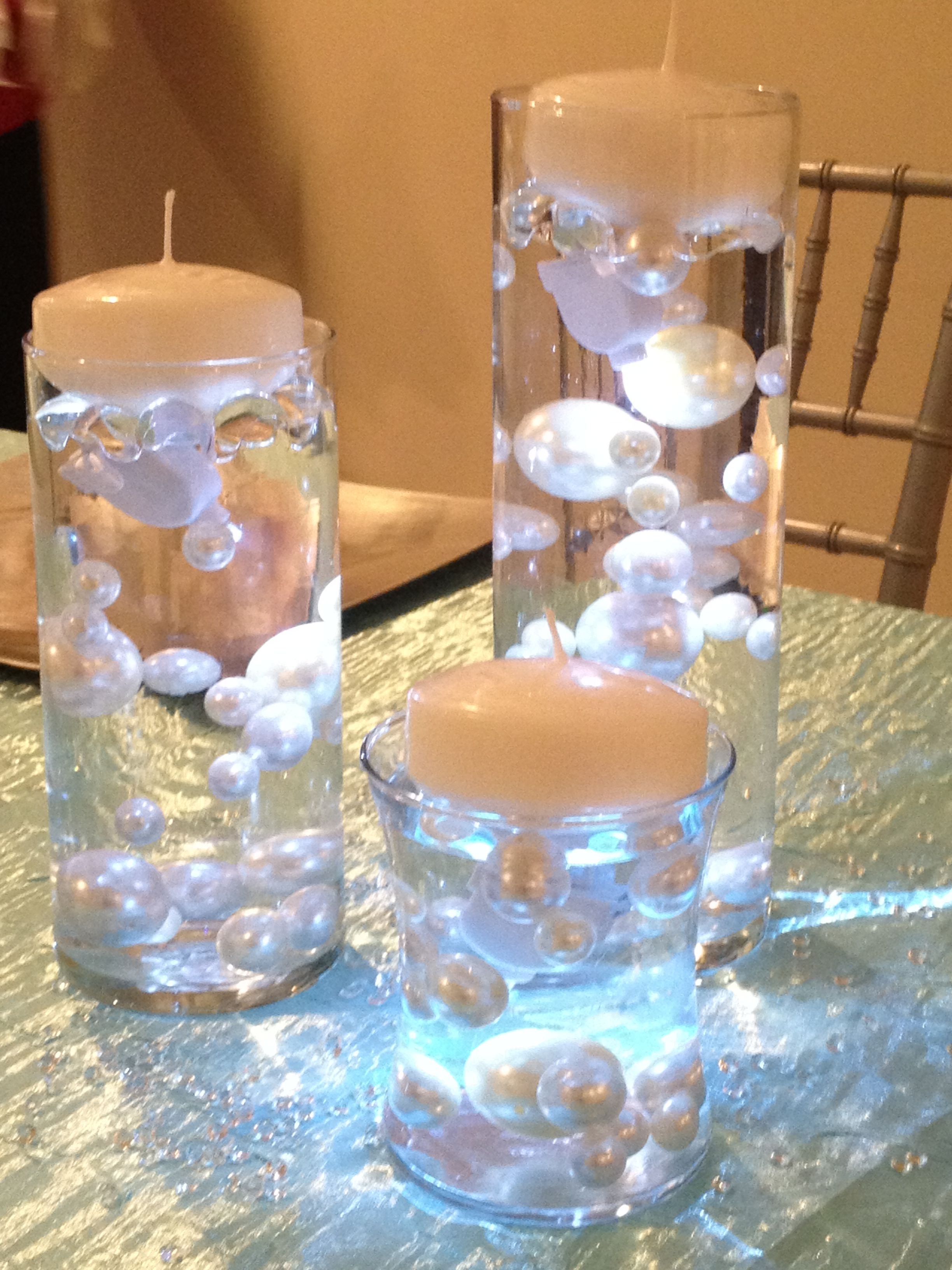 Tier cylinder vase with pearls and floating candles