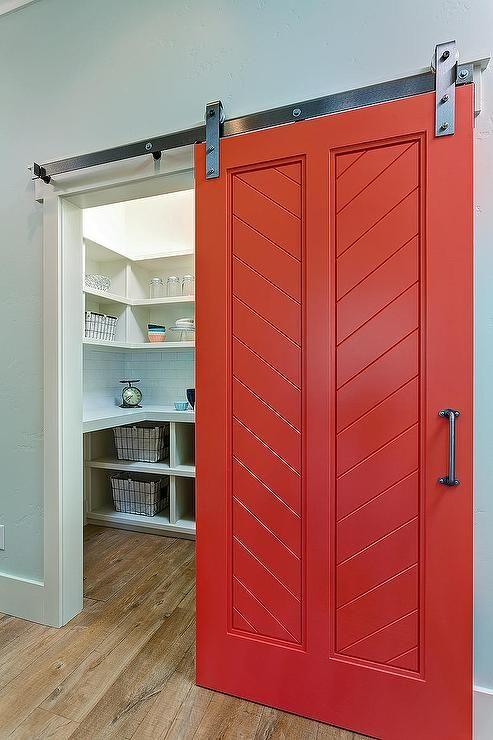Red Barn Pantry Door Transitional Kitchen Barn Door Pantry Red Barn Door Interior Barn Doors