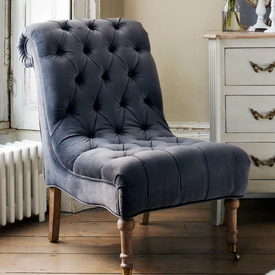 Grey Velvet Slipper Chair Acme All Star Soccer 2 Piece And Ottoman Set A Perfect Height For Slipping On The Manolo S