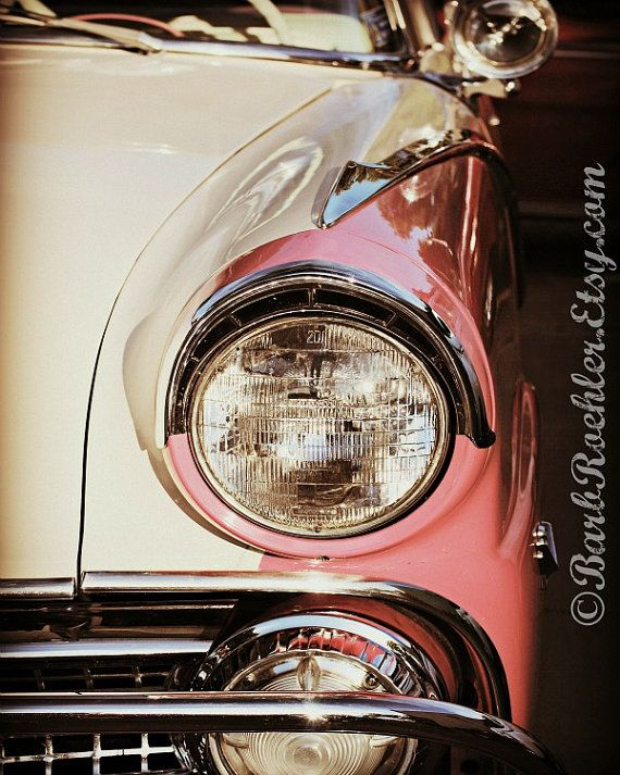 Pink \ White Vintage Car - Rustic Wall Art - Classic Car Art - vintage möbel küche