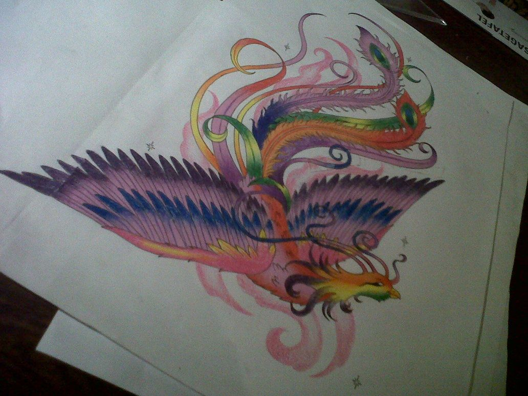 Colorful phoenix tattoo designs - Girly Phoenix Tattoos Phoenix Tattoo Design By